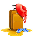 Female Travel Suitcase With Bonnet And Slippers Royalty Free Stock Images