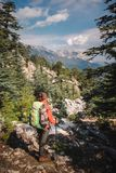 Female traveler on the background of mountain in Turkey Stock Photo