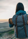 Female traveler with backpack Royalty Free Stock Photography
