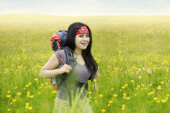 Female traveler hiking in the nature Royalty Free Stock Images