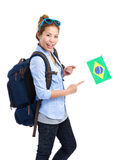 Female traveler holding Brazil flag Royalty Free Stock Images