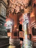 Solo Female Traveler at the Erawan Museum, Bangkok, Thailand stock images