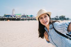 A female traveler taking selfie royalty free stock photo