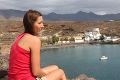 Female traveler in Tenerife Royalty Free Stock Image