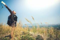 Female travelers travel nature mountain map navigation Royalty Free Stock Photos