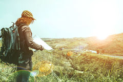 Female travelers travel nature mountain map navigation Royalty Free Stock Photography