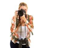 Female traveller camera Stock Images