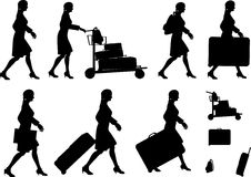 Female Traveller Silhouettes Royalty Free Stock Image