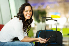 Female traveller tablet computer Royalty Free Stock Images