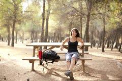 Female trekker portrait Stock Photo