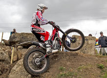 Female trials rider Royalty Free Stock Photography