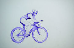 Female triathlete on Bicycle Royalty Free Stock Photos