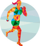 Female Triathlete Marathon Runner Low Polygon Stock Image