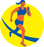 Female Triathlete Marathon Runner Retro Stock Photography