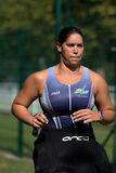 Female triathlete after the swim. Stock Photography