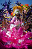 Female troop leader dances in Junkanoo, a cultural festival in Nassau in Jan 1, 2011. Royalty Free Stock Images