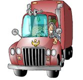 Female Truck Driver vector illustration