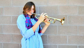 Female trumpet player. Royalty Free Stock Photos