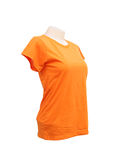 Female tshirt template on the mannequin on white Royalty Free Stock Image