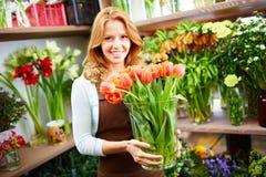 Female with tulips Stock Photo