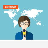 Female TV presenters sit at the table. Live news. News of the wo Royalty Free Stock Image