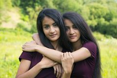 Female twins embrace each other Royalty Free Stock Images