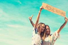 Female twins. vacation concept. independent travel stock photography