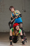 Female Twisting Roller Derby Skater's Leg Stock Photography