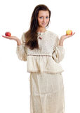 Female with two apples. Royalty Free Stock Photography