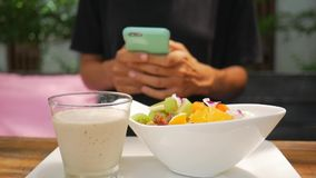 Female Twxting with Mobile Phone During her Healthy Vegan Breakfast. Close up of a Young Girl Hands Using Smartphone. HD stock footage