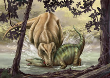 Female tyrannosaurus and hadrosaur dinosaur Royalty Free Stock Images
