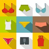 Female underwear icon set, flat style Royalty Free Stock Photos