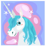 Female unicorn with blue mane. Postcard with a female unicorn with blue mane, vector illustration Royalty Free Stock Images