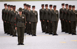 Female United States Marine Corps Graduates. Brand new female United States Marine Corps graduates stand in formation with their Drill Instructor during a Stock Images