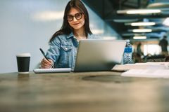 Female university student studying college campus royalty free stock photography