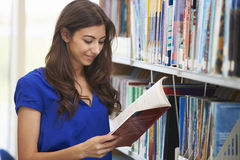 Female University Student Studying In Library royalty free stock photos