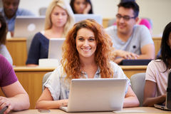 Female University Student Using Laptop In Lecture Royalty Free Stock Images