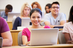Female University Student Using Laptop In Lecture Stock Image