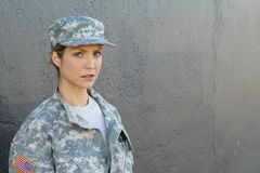 Female US Army Soldier with copy space royalty free stock images