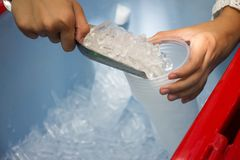 Female use metal ice scoop and plastic cup in ice bucket.  royalty free stock photography