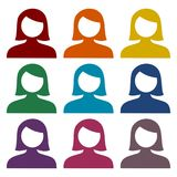 Female user avatar icons set Royalty Free Stock Photography