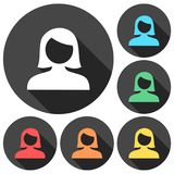Female user avatar icons set with long shadow Stock Photo