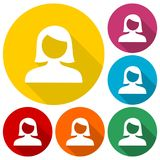 Female user avatar icons set with long shadow Royalty Free Stock Photography