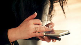 Female using cell smartphone with touchscreen stock video