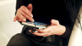 Female using cell smartphone with touchscreen stock footage
