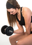 Female Using Iron Hand Weights Royalty Free Stock Photo