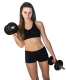 Female Using Iron Hand Weights Royalty Free Stock Photography