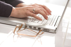 Female Using Laptop Stock Images