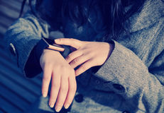Female using modern smart watch Stock Images