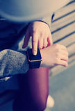 Female using modern smart watch Royalty Free Stock Images
